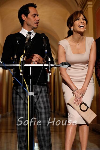d757143fe4af6 US $125.0  Newest knee length sheath square neck cap sleeve pink satin  Jennifer Lopez red carpet celebrity dresses-in Celebrity-Inspired Dresses  from ...