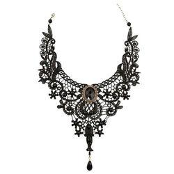 Gotik Victorian Dantel Gerdanlık Kolye Seksi Içi Boş Siyah Metal Cameo Mücevher Steampunk Cosplay