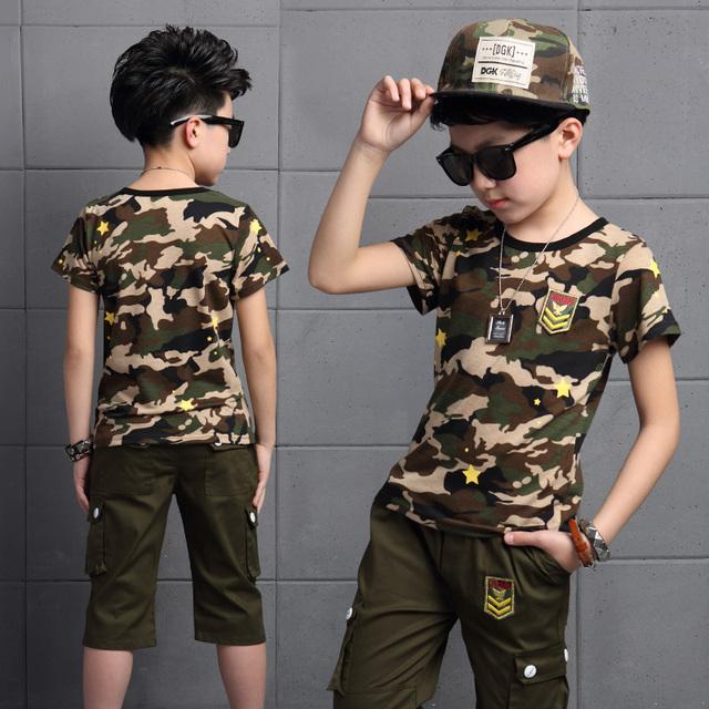 2016 Nova Venda Quente de Verão Crianças Meninos Camiseta Shorts Camo conjunto Crianças Meninos Camisa de Manga Curta Roupas Crianças Menino Terno Do Esporte Outfit