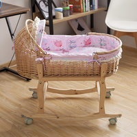 Baby Swing Bed, Baby Cradle 100*53cm Straw Baby Sleeping Basket with Wheels Plus Mosquito Net, Summer mat, Cushion