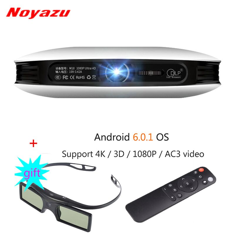 Noyazu DLP Projector Mini LED 3D Android Beamer Full HD 4K 1080P Business Portable Projetor Smart Home Cinema with 3D Glasses wzatco 5500lumen android smart wifi 1080p full hd led lcd 3d video dvbt tv projector portable multimedia home cinema beamer