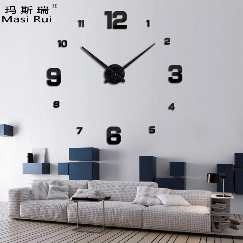 2017 новое поступление 3D большие настенные часы современный дизайн бросился кварцевые часы модные часы зеркало наклейка DIY Гостиная Декор