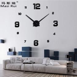 2019 new arrival 3d real big wall clock modern design rushed Quartz clocks fashion watches mirror sticker diy living room decor