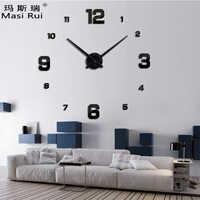 2019 nouveauté 3d réel grande horloge murale design moderne précipité Quartz horloges de mode montres miroir autocollant bricolage salon décor