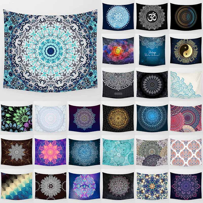 Hot sale fashion mandala style floral flowers macrame pattern wall hanging tapestry home decoration wall tapestry tapiz pared in Tapestry from Home Garden