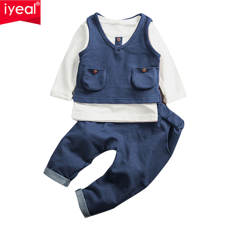 IYEAL Fashion Baby Boys Clothes Set Cotton Long Sleeve Tops +Vest + Pants 3 Pieces Suit For Kids Boy Children Clothing 1-4 Years lovely spring pure cotton thomas and friends children clothing long sleeve tops pants for 2 7 years boy kids pajamas sleepwear