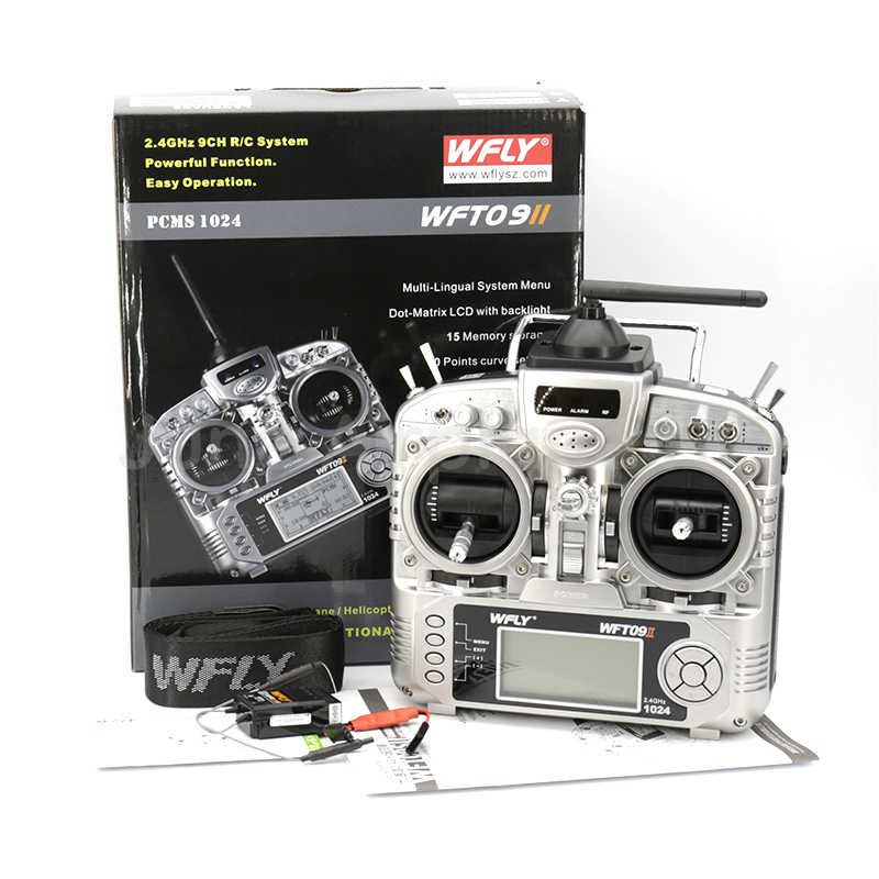 WFLY WFT09II 9,6-12,0 V 2,4G 9CH transmisor RC FPV controlador remoto PPM/PCMS1024 LCD para Multirotor helicóptero, coche RC