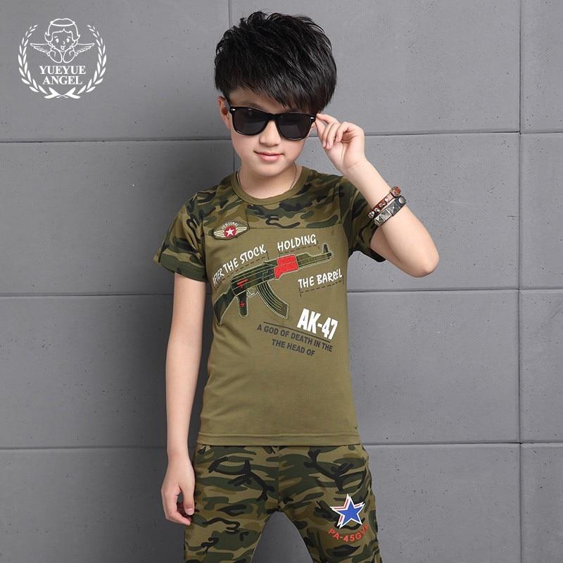 2018 New Hot Sports Suit For Boy Short Sleeve Letter T-shirt+Fashion Loose Star Pattern Camouflage Pants 2Pcs Ensemble Boys Ete