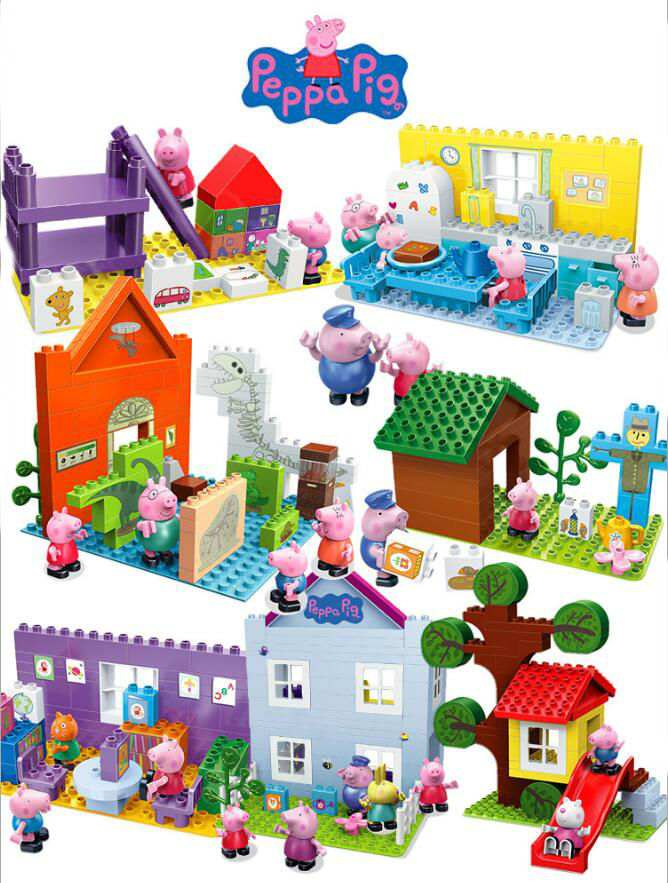 Deluxe Genuine Peppa Pig Building Blocks Set Swing Slide Red Car Boat Classroom Train Play House Museum Children Birthday Toy
