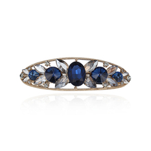 CHIMERA Crystal French Barrette Oval Rhinestone Metal Hair Clips Blue Ponytail Clamps Pins Fashion Jewelry for Women Ladies