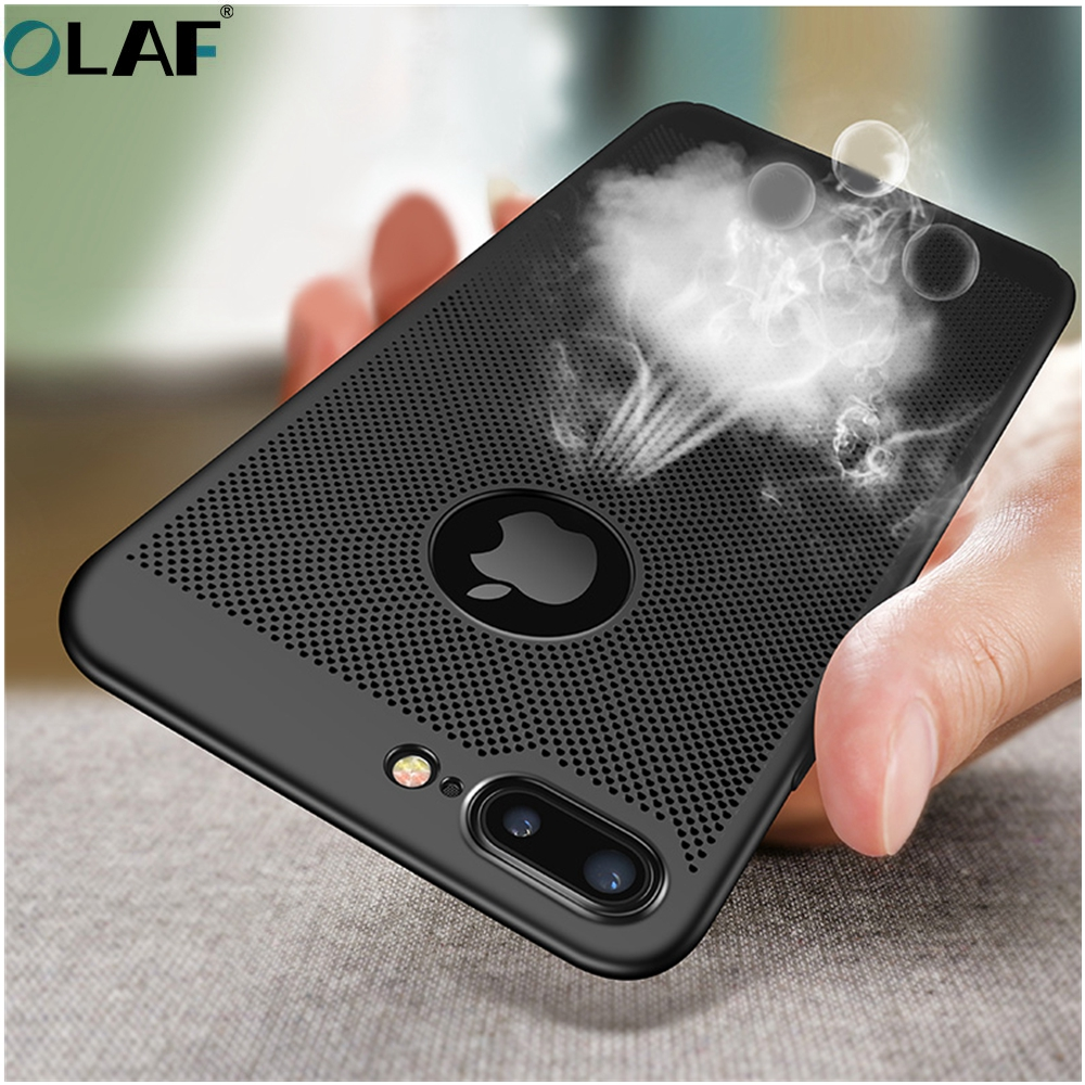 OLAF Ultra Slim Phone Case For iphone 7 8 Plus Hollow Hollow Heat Dissipation Case for iphon X Hard PC Protective Back Case