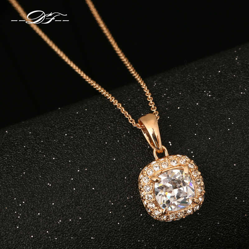 DFN112 Classic Crystal Rose Gold Color  Charms Necklaces & pendants Fashion Jewelry For Women Gifts items colares joias