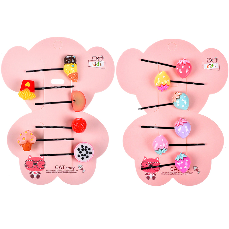 M MISM 6PCS Crown Rabbit Food Fruit Strawberry Girls Hairgrip Cute Hairpins Hair Accessories Lovely Hair Clips for Kids baby cute style children accessories hairpins rabbit fur ear kids girls barrette lovely hair clip