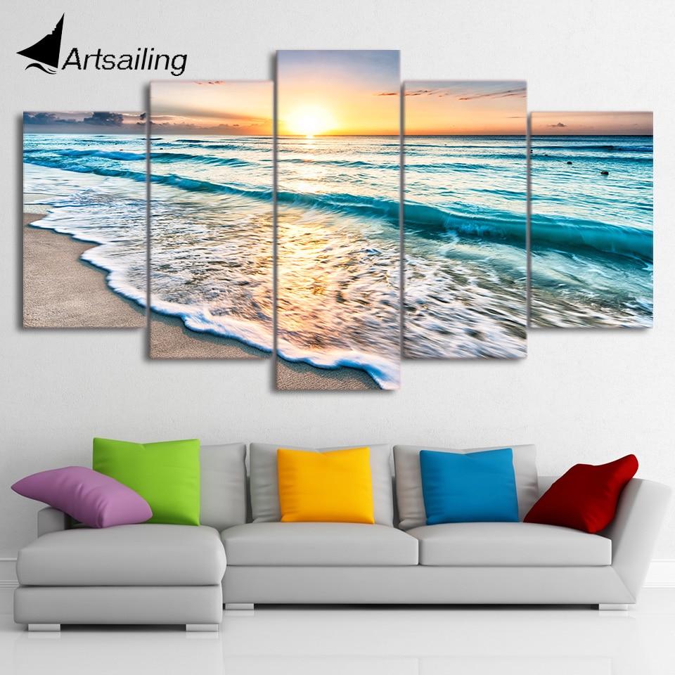 HD Stampato 5 pezzo tela arte foto spiaggia paesaggio marino sunset beach pittura della tela di canapa pittura immagini della parete Spedizione gratuita ny-1476