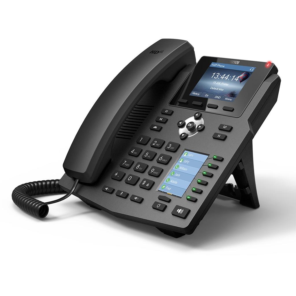 Fanvil X4G téléphone IP entreprise téléphone de bureau HD voix avec 2.8 pouces couleur-écran prise en charge 4 lignes SIP et POE activé casque