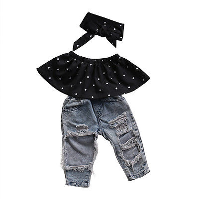 Helen115 Casual Kid Baby Girls Sommar Polka Dot Off Shoulder T-shirt + Broken Pants + Headband 0-3Years
