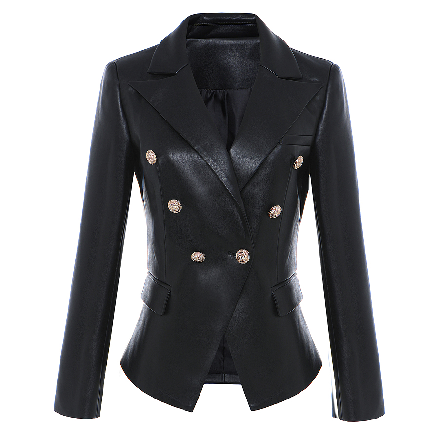 HIGH STREET Newest Baroque Fashion 2018 Designer Blazer Jacket Womens Lion Metal Buttons Faux Leather Blazer Outer Coat ...