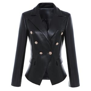 Image 2 - HIGH STREET Newest Baroque Fashion 2020 Designer Blazer Jacket Womens Lion Metal Buttons Faux Leather Blazer Outer Coat
