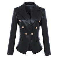 HIGH QUALITY Newest Fall Winter 2017 Designer Blazer Jacket Women S Lion Metal Buttons Faux Leather