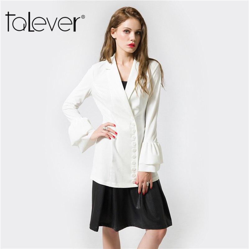2017 New Fashion Autumn Womens Blazer White Black Big Sizes Trumpet sleeves Female Suit Elegant Office Lady Long Jacket Talever