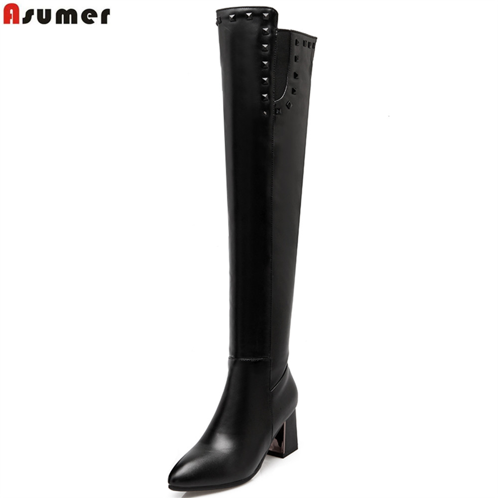 ASUMER 2018 hot sale new women boots black zipper pointed toe autumn winter ladies boots rivet over the knee  boots plus size asumer 2018 hot sale new arrive women boots pointed toe black autumn winter ladies boots zipper buckle over the knee boots