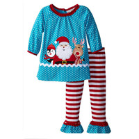 Christmas Baby Girls Toddlers cute Santa Clause Polka Dots Tops T Shirts+Striped Ruffle Pants Outfits Kids Xmas 2pcs Suit Gift