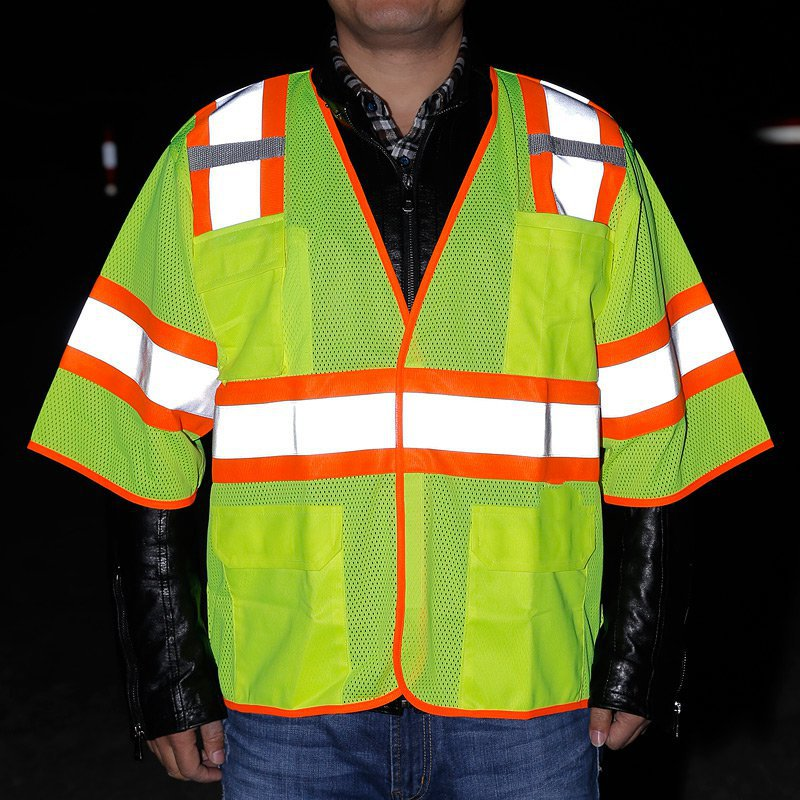 Short sleeve pocket reflective safety multipath hit color design eye-catching reflective clothing imports  reflective tape composite structures design safety and innovation