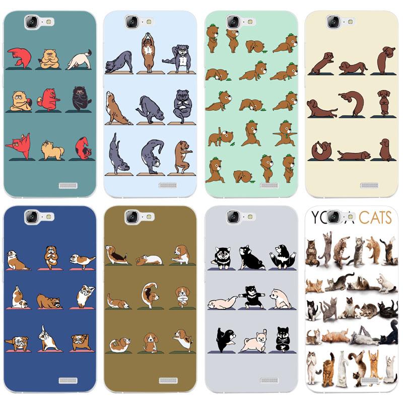 H440 милые Йога Животные Товары для кошек Товары для собак прозрачный жесткий тонкой кожи, чехол для Huawei P 6 7 8 9 10 lite плюс Honor 6 7 8 4c 4x G7