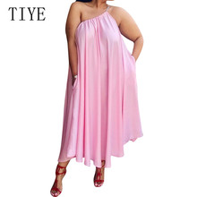 TIYE Plus Size XXL Loose Casual Large Size Dress Summer Hollow Out Sleeveless Pockets Casual Dress Women Leisure Elegant Wear summer sleeveless loose plaid dress women casual pockets long elegant dress plus size
