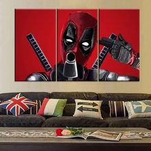 Framework Or Frameless Canvas Poster 3 Piece Deadpool Comics Picture Modern HD Print Type Unique Gift For Living Room Wall Decor(China)