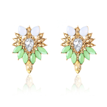E0228 New Arrival Green Crystal Stud Earring Women Vintage Rhinestone Earring Fashion Party Banquet Jewelry Gift Dropshipping