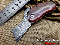 NEW Mongolian Gazelle S Horn Handle Damascus Folding Knives Rescue Pocket Knife Key Buckles Knife0 Survival