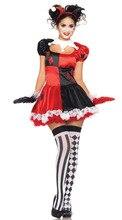 Ensen circo payaso poker rojo + rejilla negro honda princesa dress domadores de halloween cosplay ropa del funcionamiento de la etapa de tela