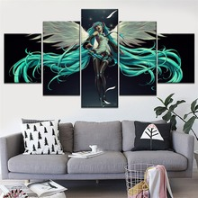 Wings Sexy Hatsune Miku Anime Art Painting 5 Piece Modular Style Picture High Quality Canvas Print Type Home Decor Wall Poster