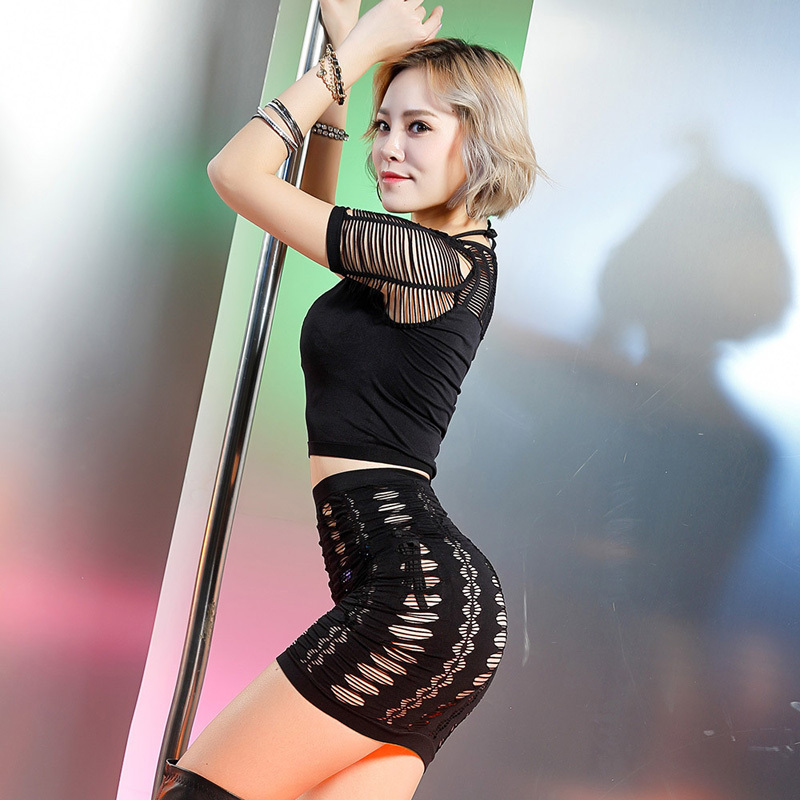 Female Costumes Pole Dancing DJ DS Costume Sexy Hollow Elastic Dress Nightclub Singer Dancer Show Costumes Sexy Top+Dress