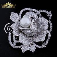 Joyería romántica blanco Conchas perla centrado plenamente florecieron Rose flor broche Tono de plata micro Pave CZ madres florales broches