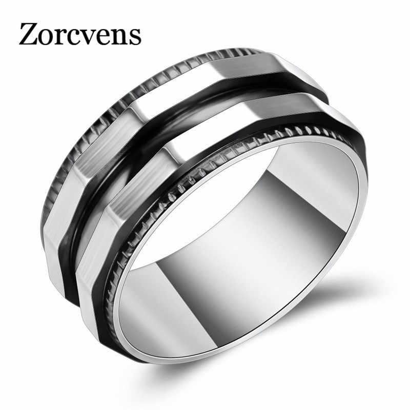 ZORCVENS Cool Punk Titanium Steel Men Ring for Men Black Gold Color Male Ring Punk Style Party Jewelry Drop Shipping