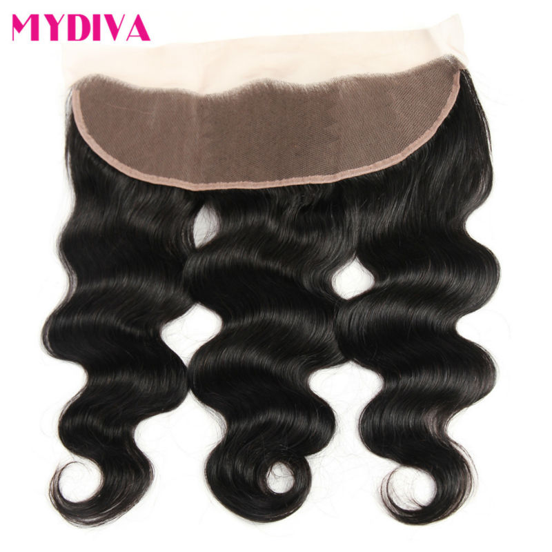 Brazilian Body Wave Lace Frontal Free Part Ear to Ear Human Hair Lace Closure 13x4 Frontal Natural Color Non Remy Hair Mydiva