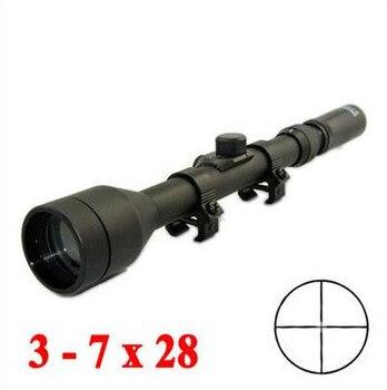 Hunting Optics 3-7X28 Riflescope Air Soft Scope Rifle Scope Met Gratis Mounts & Lensdoppen Crosshair Voor Outdoor Schieten