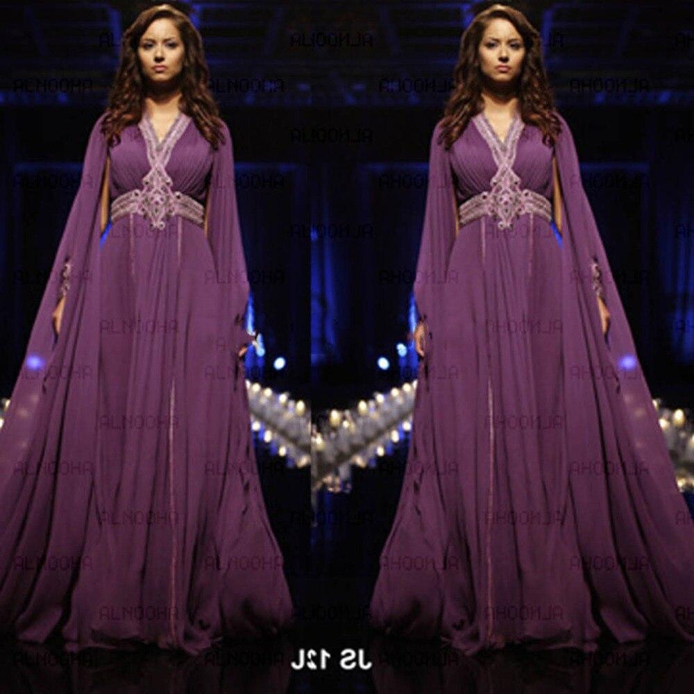 Púrpura Musulmán Árabe Abaya Dubai Kaftan Vestido de Noche 2017 SoDigne Venta Ca