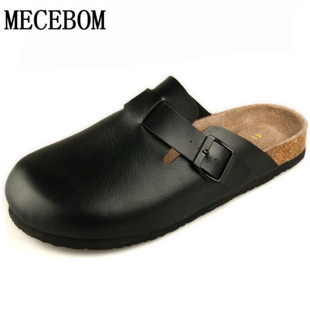 Venta caliente del verano mujeres de los hombres zapatillas de corcho sandalias de playa al aire libre hombres zapatos casuales zapatos de cuero genuino de la manera tamaño 36-44 208 M