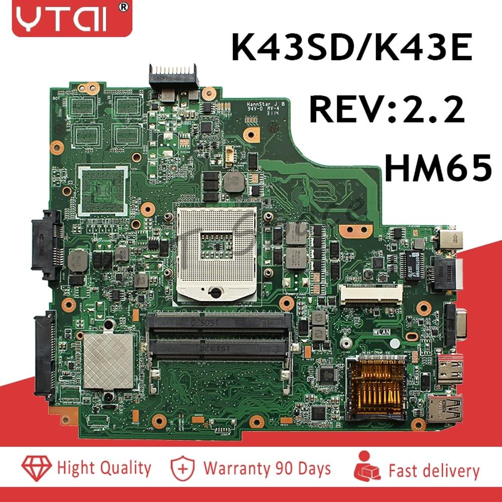 K43E Motherboard REV 2 2 For ASUS A43E P43E K43E K43SD K43SV K43SJ Laptop motherboard HM65