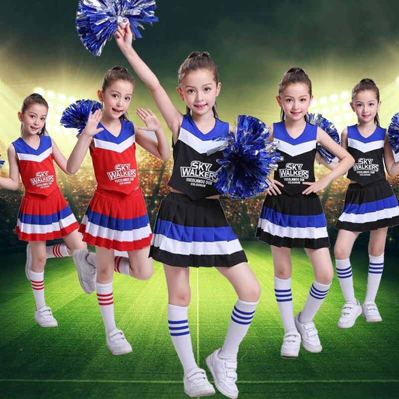 מעודדות בגדי קבוצות ילדים בית ספר מעודדות בני בנות אירובי תלבושות תחרות תינוק בית ספר אחיד שמלת חצאית