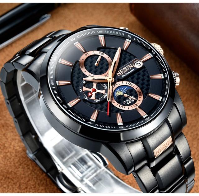 NESUN Luxury Swiss Watch Multifunctional Display Automatic Self-Wind Watch 5