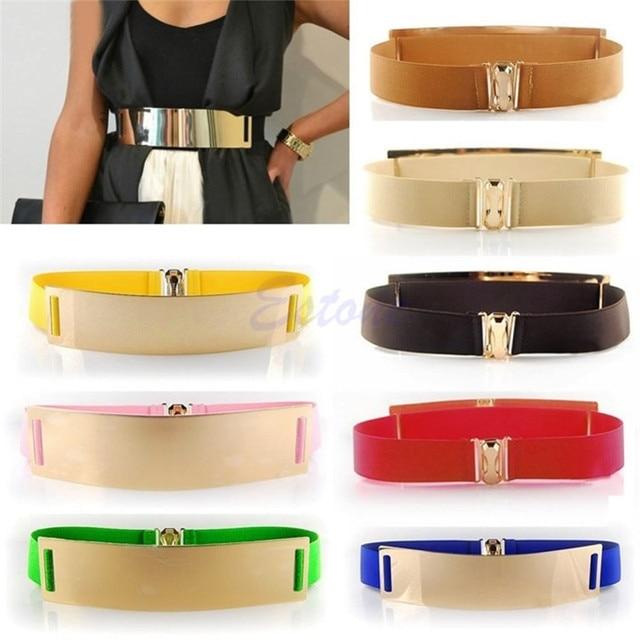 Gold Metal Elastic Mirror Golden Metal Waist Belt Metallic Bling Plate Wide Band For Women Ladies Accessories-448E