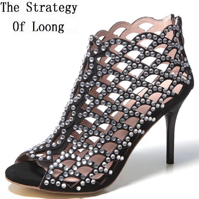 Thin High Heel Genuine Leather Rhinestone Ankle Wrap Open The Toe Women Summer Sandals Crystal Lady
