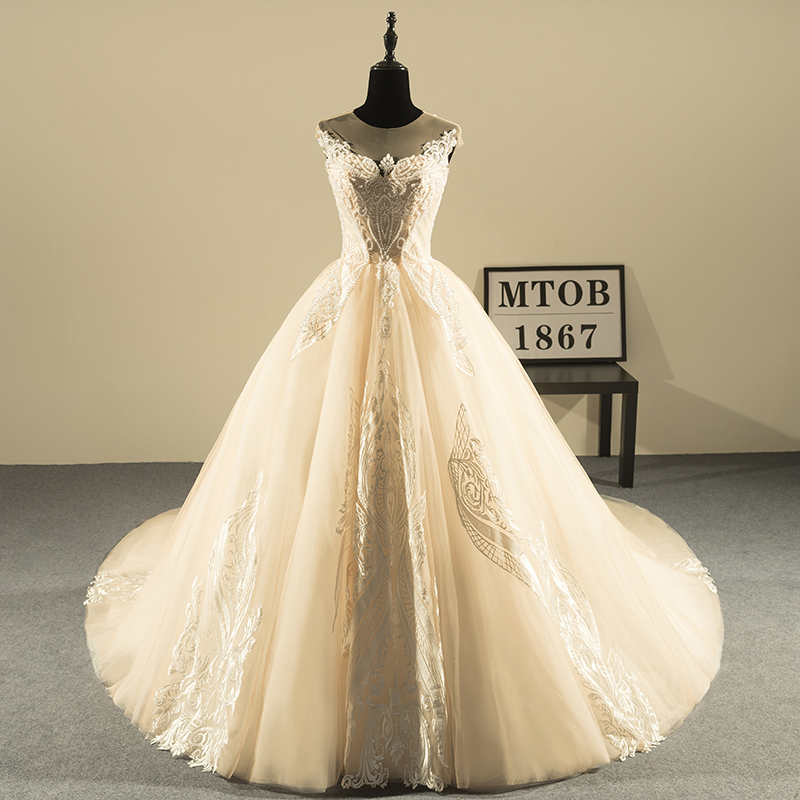 New Design Bola Vestido de Renda Vestidos de Casamento 2019 Luxo Frisada Backless Sexy Vestidos de Casamento Do Vintage China Loja Online MTOB1810