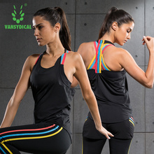 Tops Vansydical Women Shirt Tank-Top Sports-Vest Gym Running-Tight Fitness Workout Sleeveless