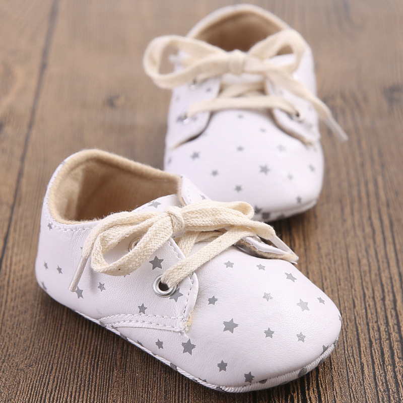 Cute Toddler Infant Boy Crib Shoes Lace-Up Sneaker PU Soft Soled Shoes 0-18M