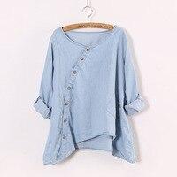 Blusas Feminina 2017 Female Denim Shirt Casual Loose Long Sleeve Top O Neck Irregular Women Blouses